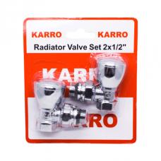 Кран кутовий для рушникосушки Karro Хром 1/2 (комплект 2шт.)