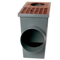 Дощоприймач для ринв з решіткою 265х136х220 коричневий (Арт.01813)