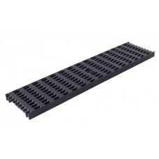 Решітка лотка водовідвідного чорна 0,5м ПВХ для системи каналів 1000/63/98/148 клас навантаження B125(12,5т) (Арт.04402)