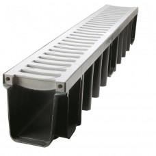 Лоток водовідвідний пластиковий з решіткою ПВХ 1000/148 клас навантаження В125 (арт.01754)