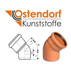 Коліно каналізаційне 110x45º ПВХ Ostendorf